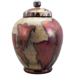 Very Fine Lidded Vase with Abstract Florals in Luster Glazes by Höganäs