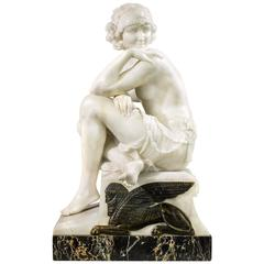 Art Deco Figure of a Woman in Statuary Marble