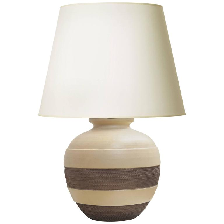Late Art Deco Ceramic Table Lamp with Textured Bands by Jacques Adnet Attributed For Sale