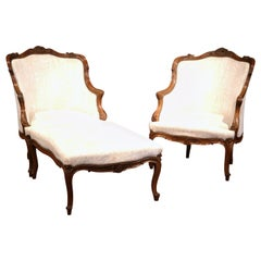 19th Century French Louis XV Carved Walnut Three-Piece Chaise from Provence