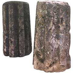 Rare Pair of 18th Century French Stone Cannelle Gate Piers