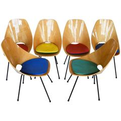Set of Six Medea Chairs, Signed, with Original Cushion, by Vittorio Nobili, 1955
