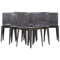 Matteo Grassi, Set of Six Italian Leather Dining Chairs