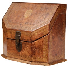 19th Century French Letter Holder in Leather with Tooling and Coat of Arms