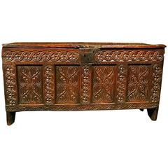 English James I Joined Elm Four Panel Guillouche Carved Coffer, circa 1610