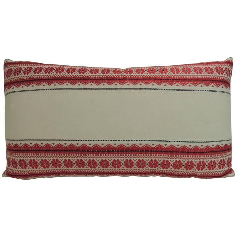 CLOSE OUT SALE: Vintage Ukrainian Woven Textile Bolster Decorative Pillow