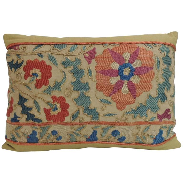 Antique Orange And Blue Embroidery Floral Suzani Decorative Lumbar Pillow  For Sale