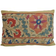 Antique Orange and Blue Embroidery Floral Suzani Decorative Lumbar Pillow