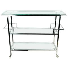 Mid-Century Metal Wheeled Bar Cart with Glass Top and Shelves