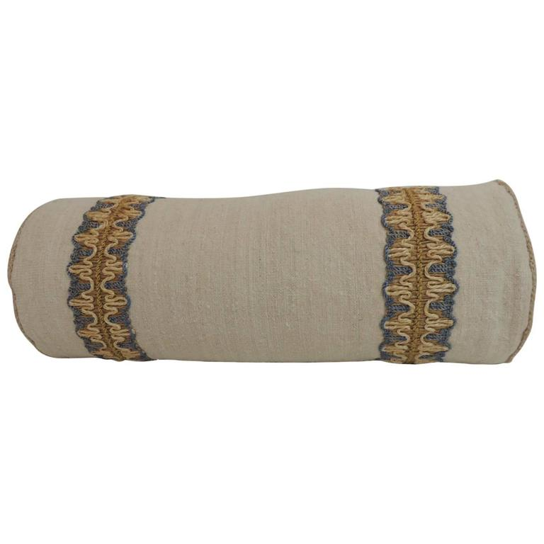 Vintage Decorative Pillow : Antique Linen Round Bolster Decorative Pillow with Vintage Jute Trims For Sale at 1stdibs