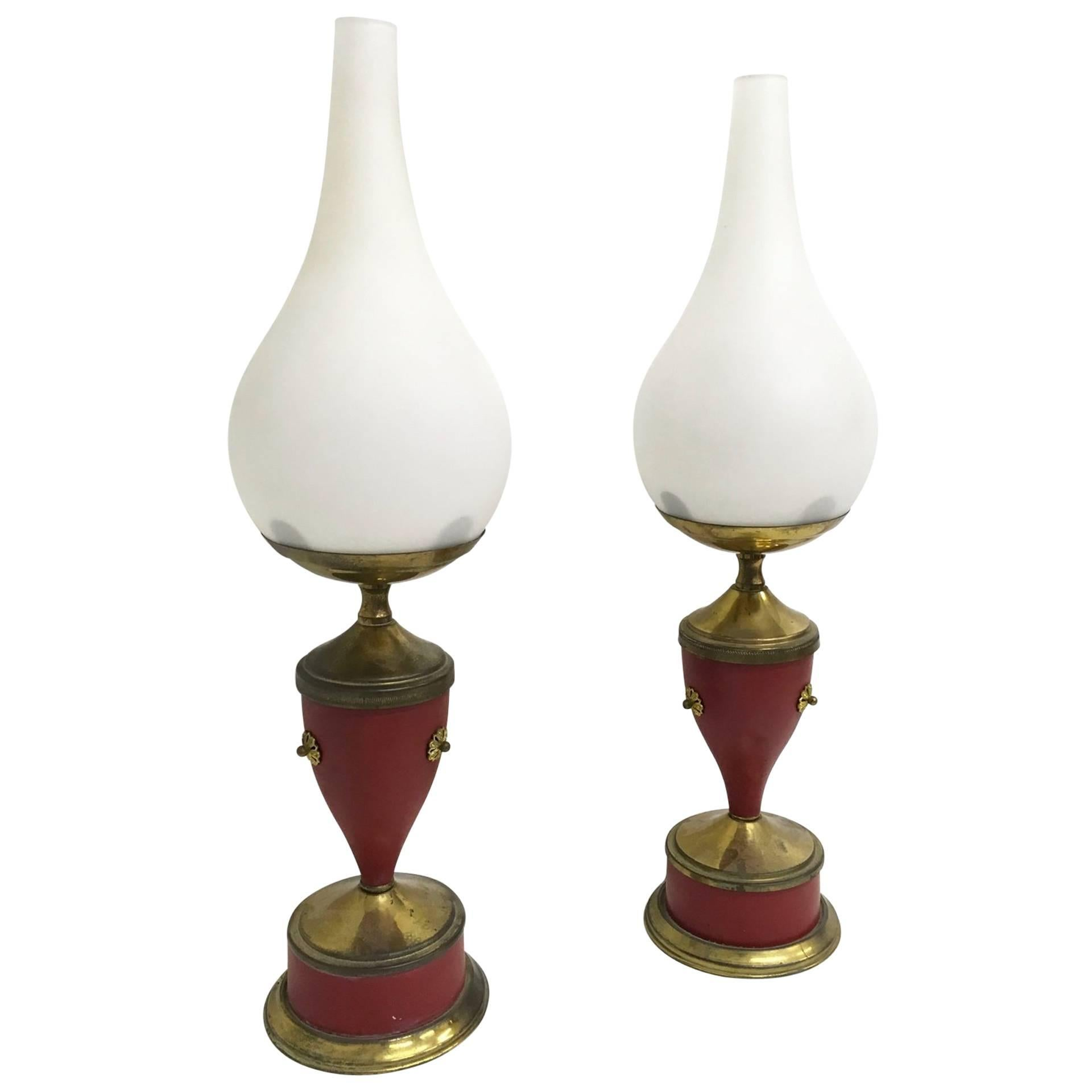 Pair of Wonderful Table Lamps, Italy, 1950s