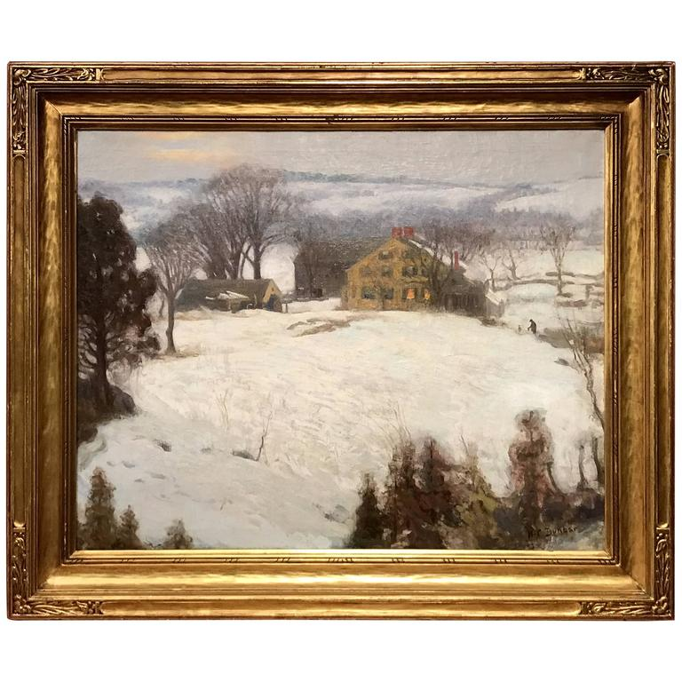 Harold C. Dunbar Oil Painting Winter Landscape with Figures