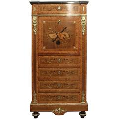 French 19th Century Marquetry Inlaid Escritoire Writing Cabinet