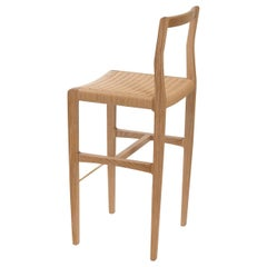 Giacomo Counter Chair or Stool in Cerused White Oak, Danish Cord, Brass Footrest