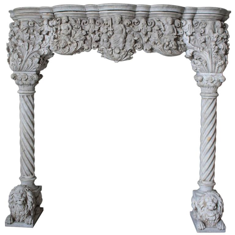 Antique Venetian Style Carrara Mantel For Sale