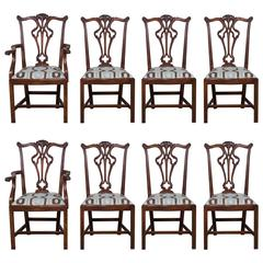 Set Eight George III Chippendale Style Mahogany Dining Chairs, Custom Finish