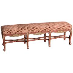 French Regence Style Painted Bench, Eight Cabriole Legs with Stretchers