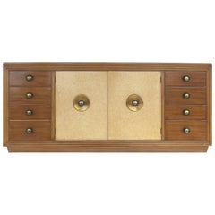 Paul Frankl for Johnson Furniture Mahogany, Cork and Hammered Brass Sideboard