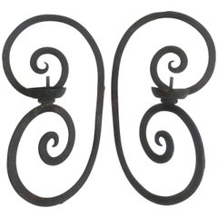 Pair of Single Arm Wrought Iron Scroll Back Sconces with Bobeche