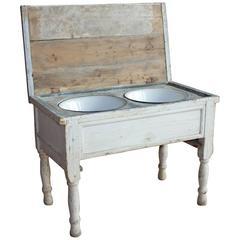 Antique European Double Sink Table