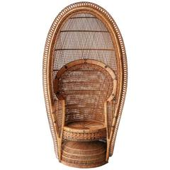 French Armchair of Natural Fiber Made by Hand