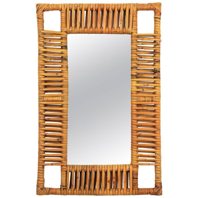 1950s French Riviera Bamboo and Rattan Rectangular Mirror