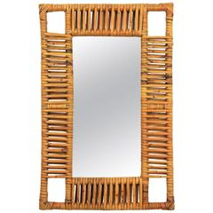 1950s French Riviera Bamboo and Rattan Rectangular Mirror