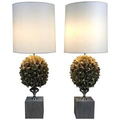 Pair of Tall American Faux Floral Cluster and Chrome Table Lamps