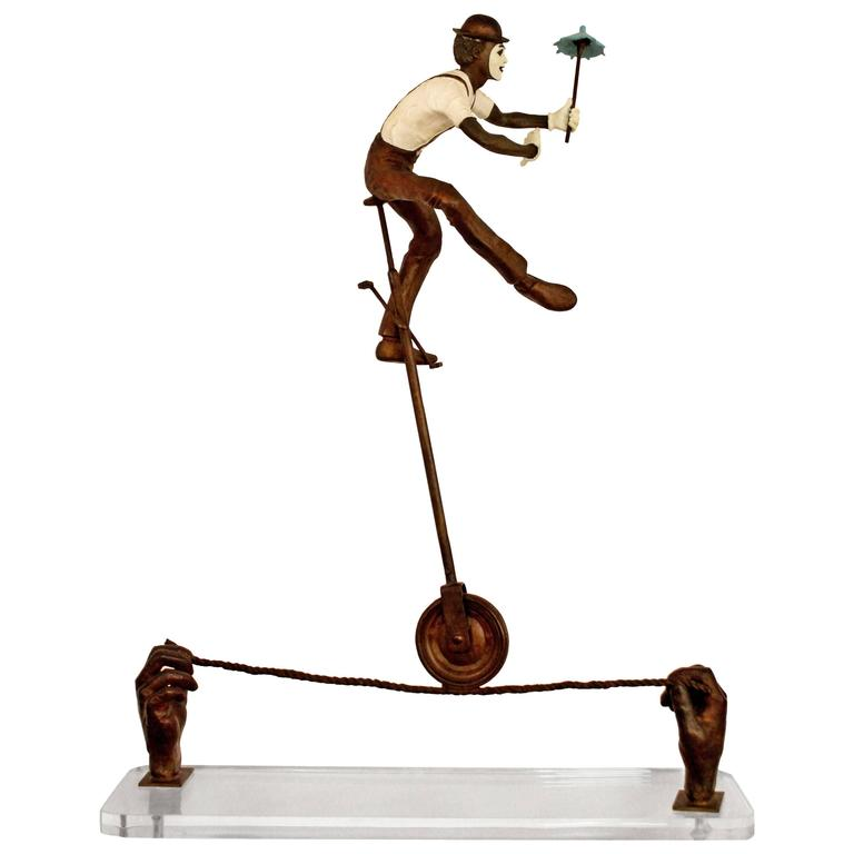 Contemporary Jerry Soble Balancing Man Bronze Mime Sculpture, Signed, 1991