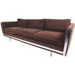 Contemporary Modern Three-Seat Sofa with Chrome Frame
