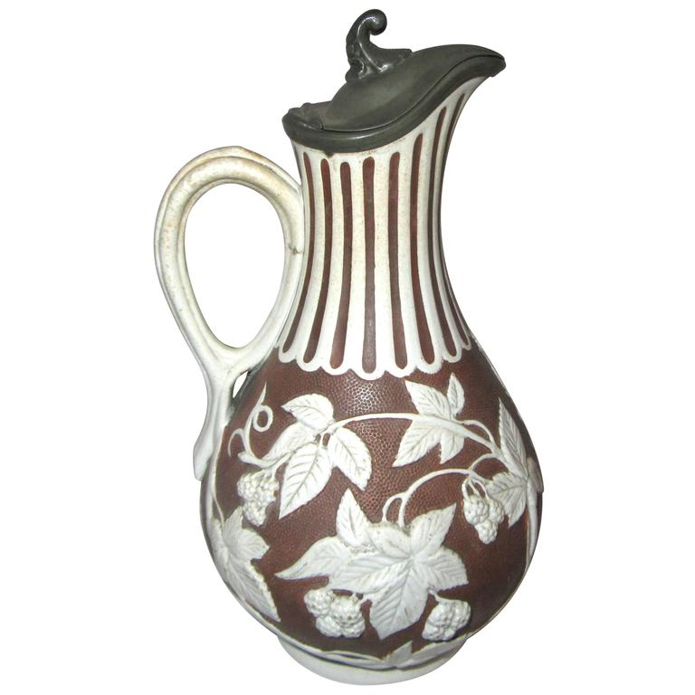 19th Century English Parian Ware Pitcher For Sale