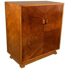 Swedish Art Deco 1930s Burled Walnut Veneer Cabinet