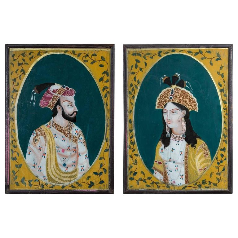Pair Of Indian Reverse Glass Paintings At 1stdibs