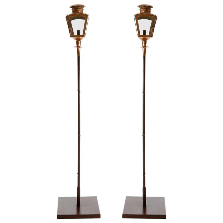 Pair of Patinated Copper Floor Lamps