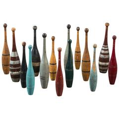 Collection of Indian Clubs with Original Paint Surface
