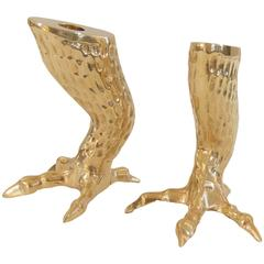 Pair of Brass Eagle Talon Candlestick Holders