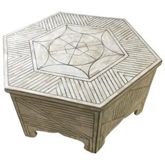 Bone and Brass Coffee Table Geometric Design Haskell Antiques