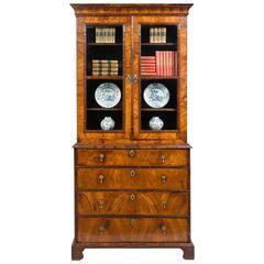 Antique Period George I Walnut Secretaire Bookcase