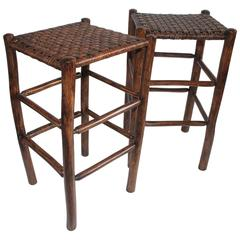 Pair of Signed Old Hickory Bar Stools