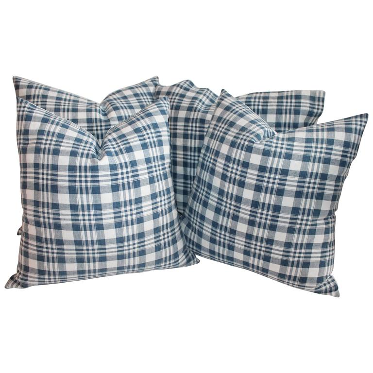 19th Century Blue and White Homespun Linen Pillows For Sale