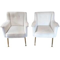 Ultra Chic Pair of Mid-Century Modern Italian Lounge Club Chairs