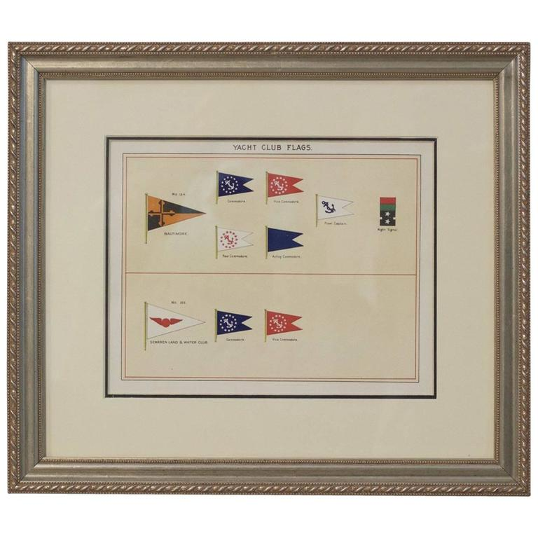 Framed Original Page of Yacht Club Flags from Lloyd\'s Register ...