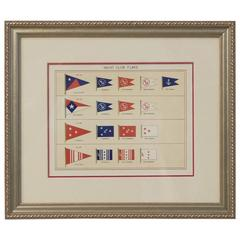 Framed Original Page of Yacht Club Flags from Lloyd's Register, circa 1938