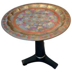 Stunning Regency Style Side Table with Intricately Enameled Brass Top