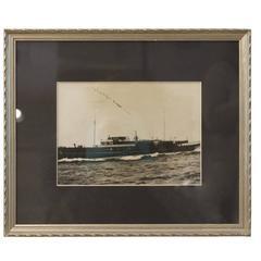 Original Antique Photograph of a Steam Yacht