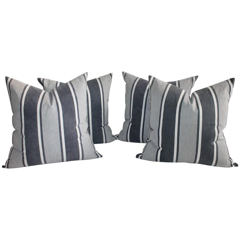 Set of Four Wide Striped 19th Century Ticking Pillows