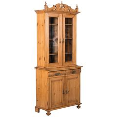 Tall Antique 19th Century Pine Bookcase Cabinet from Denmark