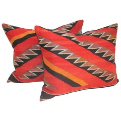 Pair of 19thc Century Sawtooth Pattern Navajo Pillows