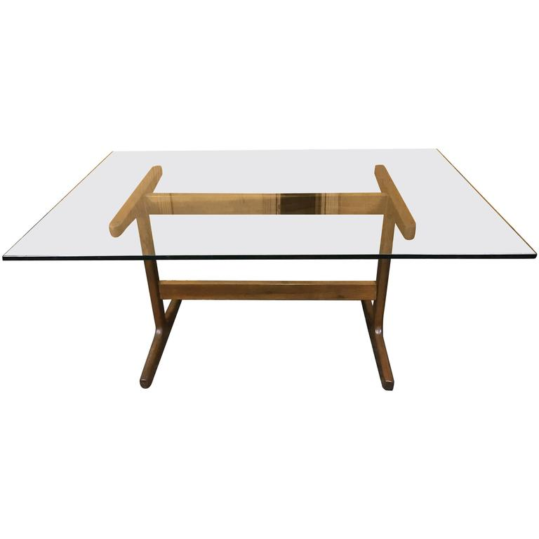 Danish Modern Teak Trestle Table BASE, in the style of Finn Juhl