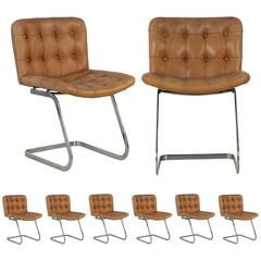 Set of Eight Robert Haussmann for Stendig Chrome and Leather Dining Chairs